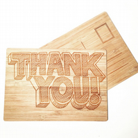 Thank You Engraved Wooden Cards