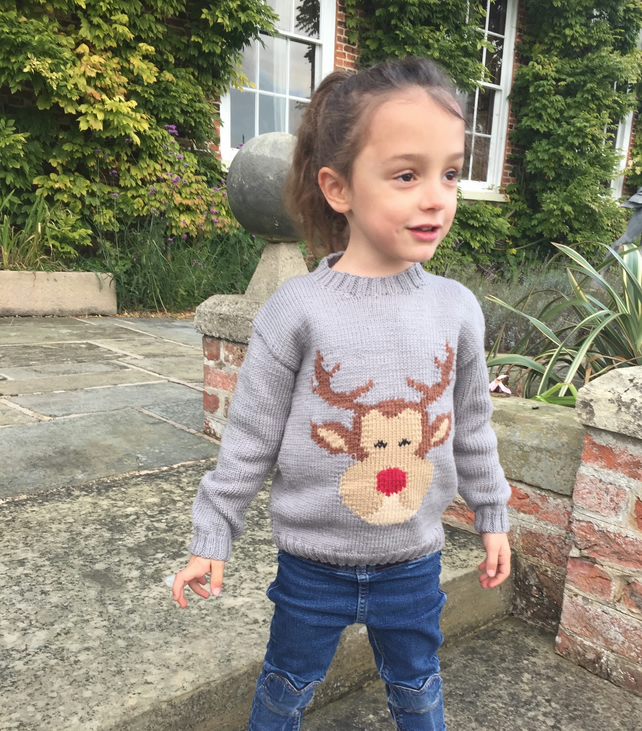 Hand knitted cashmere children's Christmas jumper, cute rudolf knitted sweater