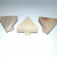 Original triangle solid wood knob,oak,sapele,walnut wooden handle