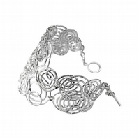 925 Sterling Silver Concentric Circles Linked Bracelet with Toggle Clasp