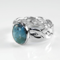 Sterling Silver Twist Weave Band Ring with Oval Turquoise, Woven, Celtic