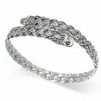 Sterling Silver Diagonal Basket Weave Crossover Bangle with 9ct Gold Accents