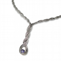 Sterling Silver Woven Wave Torque Necklace with 6mm Round Faceted Iolite, Celtic
