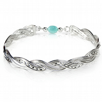 Sterling Silver Woven Wave Bangle with Amazonite bead link