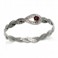 925 Sterling Silver Woven Wave Bangle with Garnet Gemstone