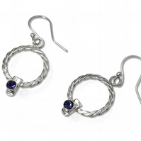 Sterling Silver Round Twist Weave Earrings with Iolites, Ear Wires