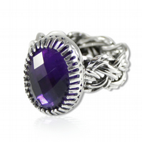 Sterling Silver Basket Weave Statement Ring with 16 x 12mm Oval Faceted Amethyst