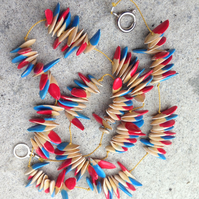 Blue & red natural seed necklace; boho style
