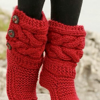Womens Knitted Custom Design Cabled Slipper Boots