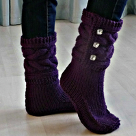 Handknitted Cabled Womens Slipper Boots