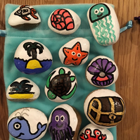Under the Sea Story Stones - octopus, jellyfish, crab, whale, starfish, turtle