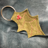 Christmas Leather Keyfob