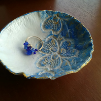 Blue and gold ring or trinket dish
