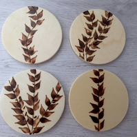 Wooden Leaf Coasters, Set of 4