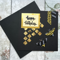 Black and gold bumble bee card
