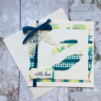 Handmade, embellished, die cut blue and green feather card