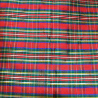 Red tartan fabric 100% silk