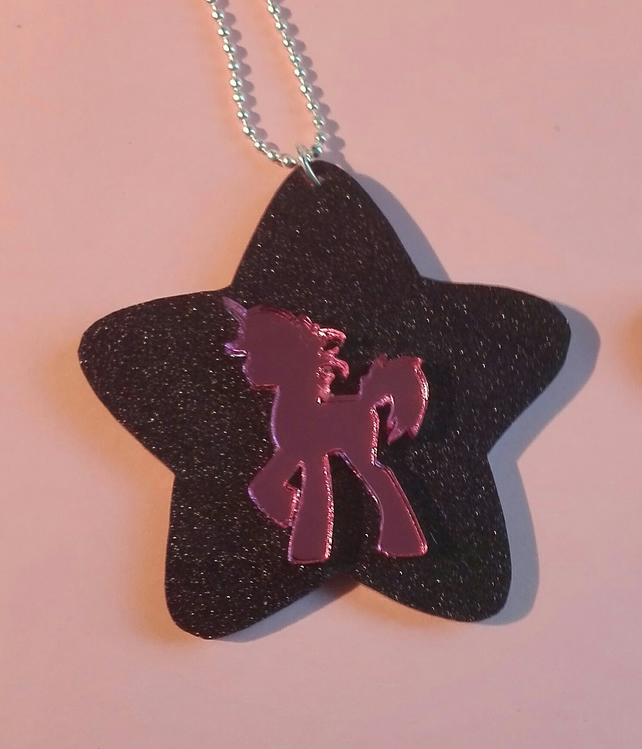 "Pink Unicorn Star Necklace, 18"" Ball Chain, Mirror Acrylic, Gifts, Kawaii, Cute"
