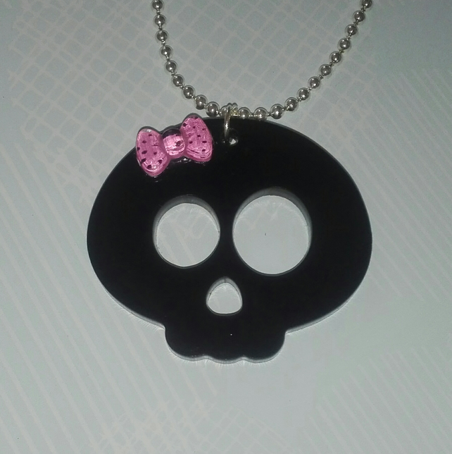 Kawaii Skull Pendant With Pink Bow, Black Laser Cut Acrylic, Ball Chain Necklace
