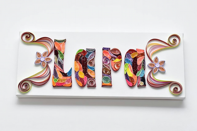 3D QUILLING NAME ART GIFT PAPER ART CANVAS CUSTOM MADE ITEM