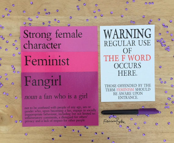 "Feminism Bundle 4 5x7"" Postcard Prints and Pen, Fangirl & Feminist Definition"
