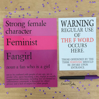Feminism Survival Kit: Feminist, Strong Female Character, Fangirl Prints