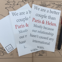 Trojan War Paris and Helen Greek Mythology Postcard Print, Iliad, Valentine's