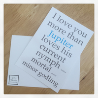 I Love You More Than Jupiter Loves... Roman Mythology Valentine's Print