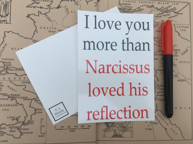 I Love You More Than Narcissus Loves His Reflection Greek Mythology Anniversary