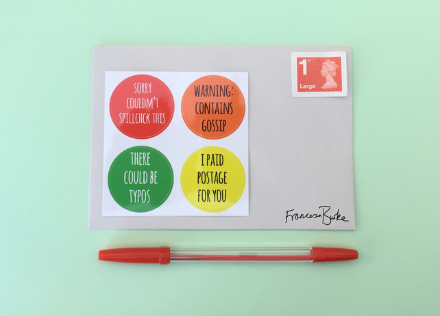 20 Orange, Yellow, Red, Green Funny Snail Mail Christmas Envelope Stickers