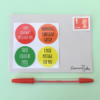 12 Orange, Yellow, Red, Green Funny Snail Mail Christmas Envelope Stickers