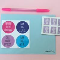 SALE 20 Blue, Purple, Pink Funny Christmas Card Seals, Stickers, Thank You Notes