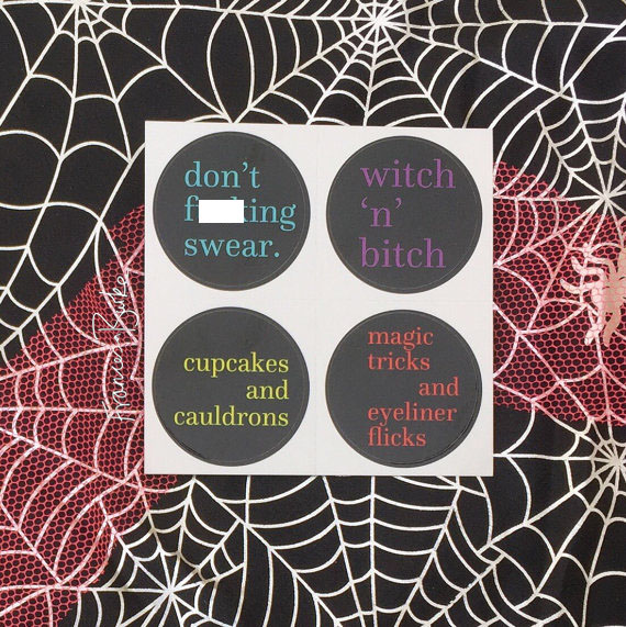 12 Halloween Party Decor Pastel Goth Punk Friday 13th Vinyl Stickers, Witches