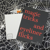 Magic Tricker and Eyeliner Flicks Halloween Girl Gang Art Print, Witches, Punk