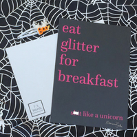 Eat Glitter for Breakfast and Sh-t Like a Unicorn Funny Art Barista Gift