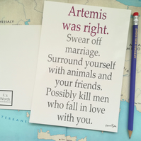Artemis Greek Mythology Feminist Print for Asexuals, Divorce, Anti-Valentine