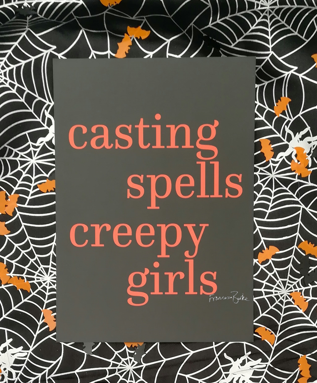 Casting Spells and Creepy Girls Halloween Harry Potter Magic Print