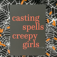 Casting Spells and Creepy Girls Halloween Magic Print, Sister, Friend Gift