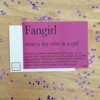 Fangirl Definition Print Bookish Gift for Friend, Fandom, Nerdy Gift