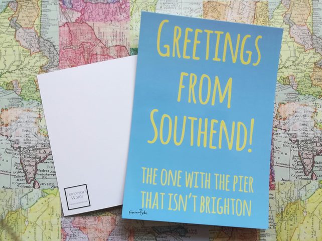 Greetings from Southend-on-Seqa Postcard, Essex, Leigh-on-Sea, Anglophile Gift