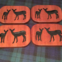 Set of 4 solid mahogany stag coasters