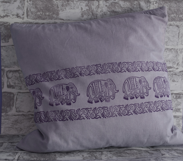 2 Hand Printed Elephant Cushion Covers