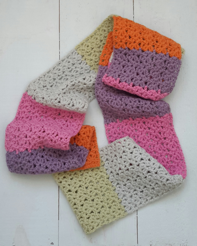 Brightly Coloured Crochet Scarf