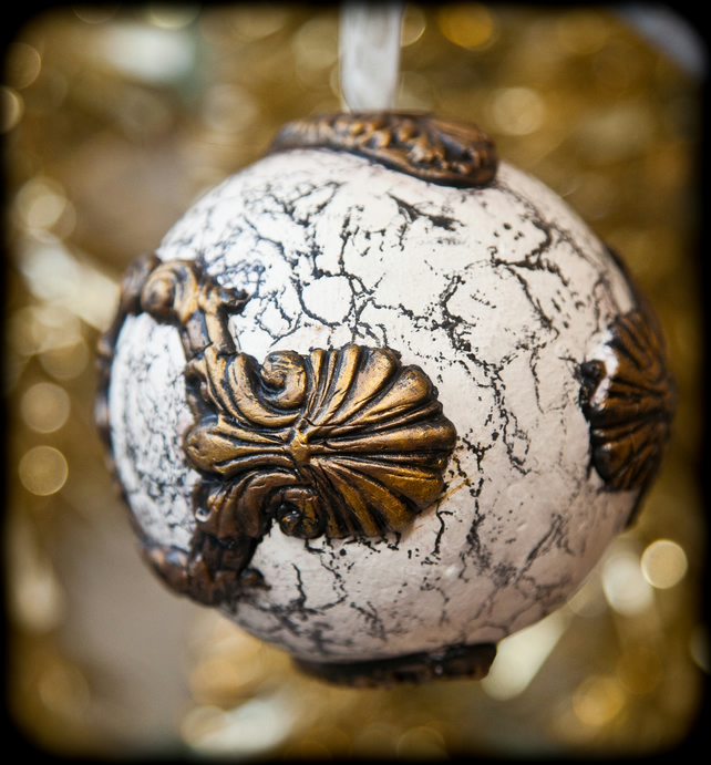 3 Large Christmas Baubles Vintage or Steampunk Stone and Metallic Effect