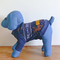 Rudolph: Blue Christmas Designer Dog Sweater Jumper, Handmade - XSmall or Small