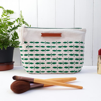 Large Makeup Bag - Green (screen printed wash bag)