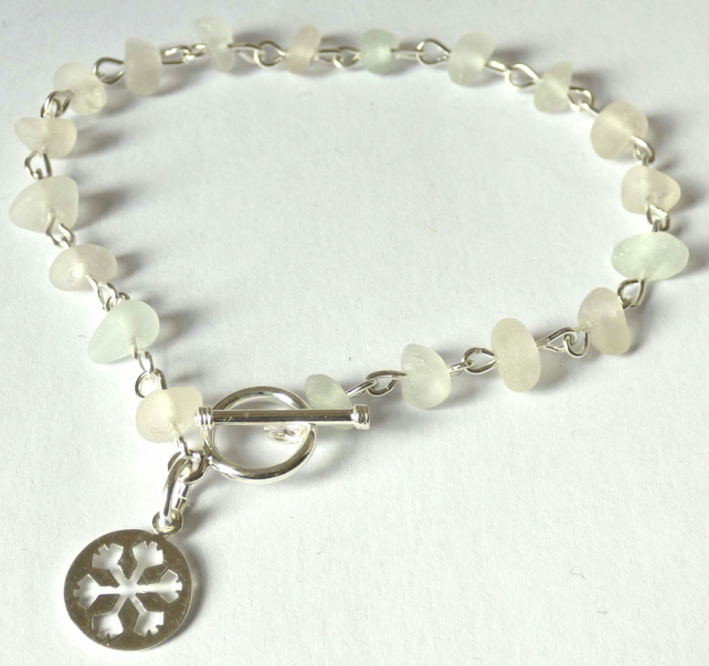 Sea Glass & Sterling Silver Bracelet - Snowflake Charm & Toggle Clasp B170059