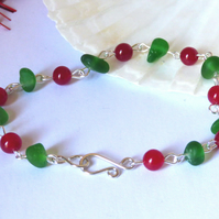 Green Sea Glass & Red Agate Bracelet with Silver Scroll Hook Clasp B170061
