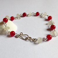 Sea Glass & Agate Bead Red & White Bracelet - Sterling Silver Hook Clasp B170089