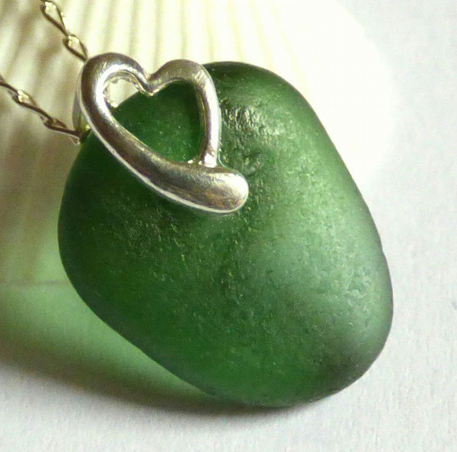 Green Sea Glass Pendant Necklace with Sterling Silver Heart  Bail - P170121